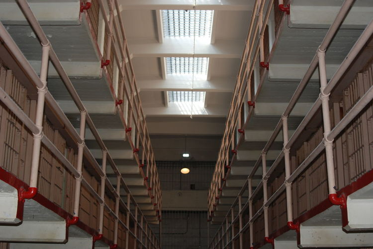 Low angle view of ceiling and second floor of alcatraz prison