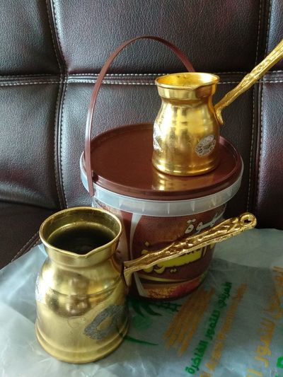 The gifts from KSA Kahve Qahwah Cezve Ibrik Turkish Kopi Still Life High Angle View Table Food And Drink Close-up Drink First Eyeem Photo