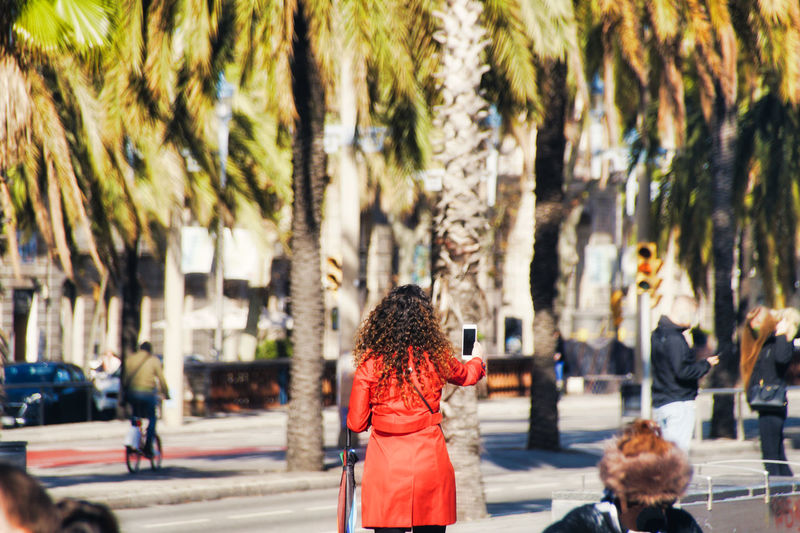 Rear view of woman using mobile phone on street in city