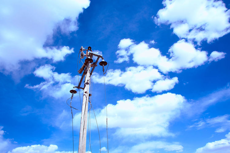 Electric Pole and blue sky Blue Cable Cloud - Sky Day Electric Low Angle View Nature No People Outdoors Pole Power Line  Sky Technology Utility Pole Wire
