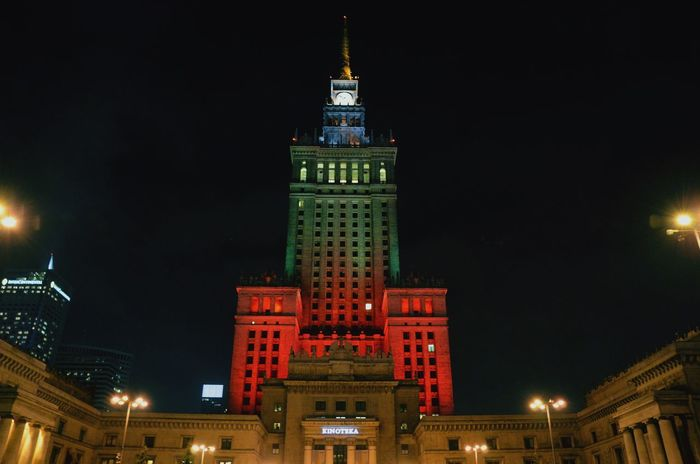 EyeEm Best Shots EyeEmNewHere Poland Warsaw Warsaw Poland Green Night Illuminated Architecture City Travel Destinations Government Politics And Government Tower Cityscape Nightlife Building Exterior Skyscraper Red No People Built Structure Outdoors Colour Your Horizn