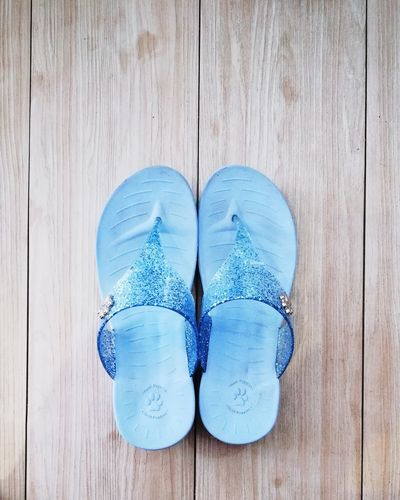 Hush Puppies Hushpuppies Slippers Slippers Lover EyeEmNewHere EyeEm Best Shots Babyblue Blue Blue Wood - Material Directly Above High Angle View Table Pair Close-up