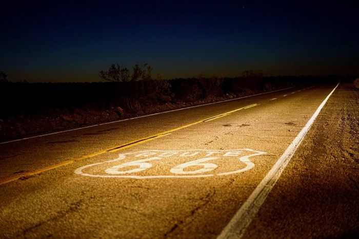 Lonely driving on the old Route 66 in Amboy, California. Route 66 Night Exploring Driving Amboy Sony A7RII
