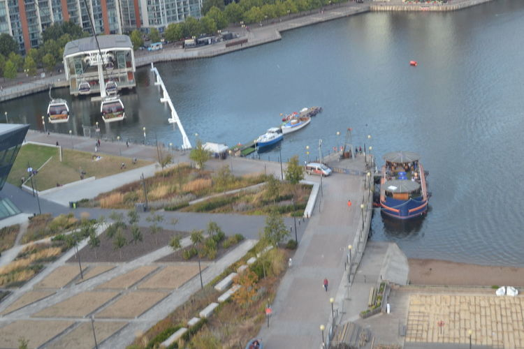 Riverbank Watersideview High Above The River Boat Moored Tranquil Scene Nautical Vessel Docklands London