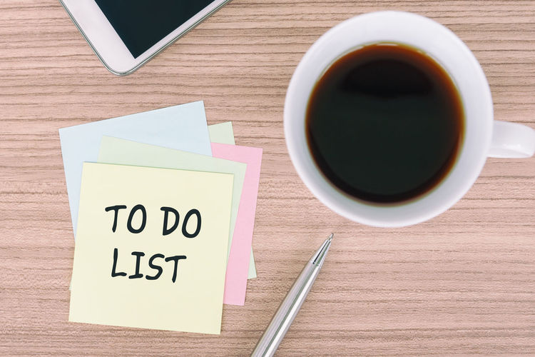 To Do List on sticky note To Do List Note Pad Coffee - Drink Smart Phone High Angle View Wood - Material Pen Adhesive Note Morning Contemplation