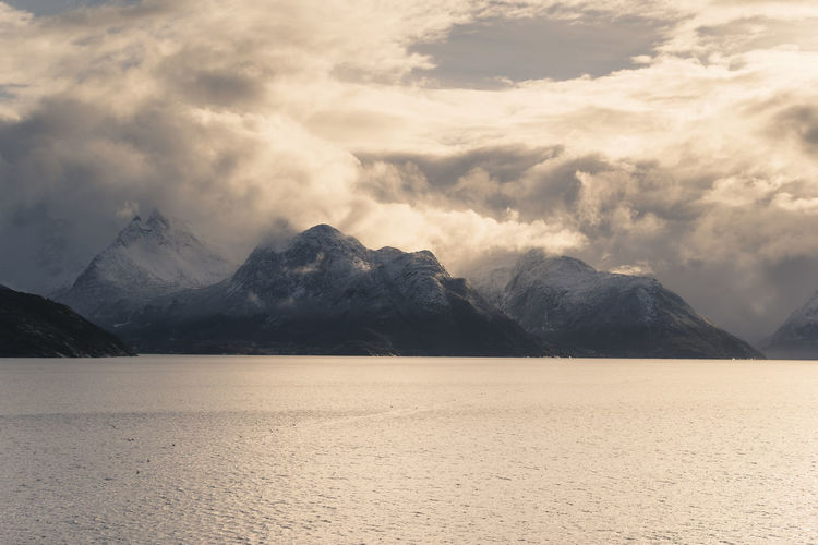 Arctic Ocean Beautiful Moody Sky Mountain View Nature Norge Ocean View Sunlight Arctic Circle Beauty In Nature Clouds And Sky Going North Light And Shadow Nature_collection North Polar Climate Sea And Sky Ship Cruise Snow Covered Mountains Viking