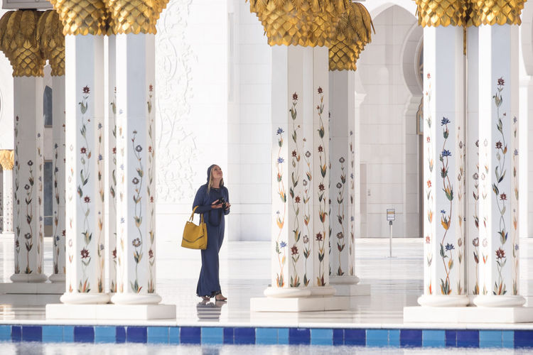 Grand Mosque Abu Dhabi Adult Architectural Column Day Indoors  Mosque One Person People The Photojournalist - 2017 EyeEm Awards Woman The Architect - 2017 EyeEm Awards Been There. Adventures In The City The Traveler - 2018 EyeEm Awards International Women's Day 2019