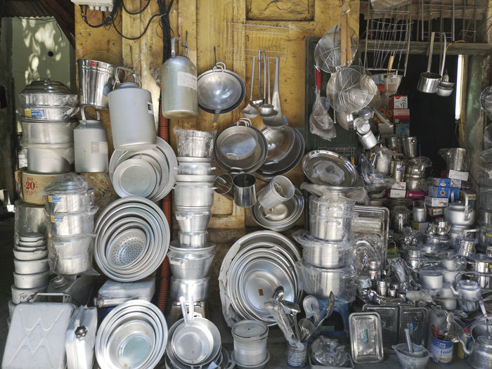Various utensils for sale at street market