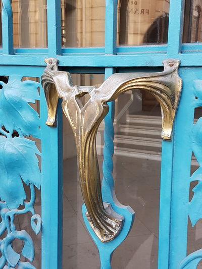 Door Handle Art Nouveau Blue Architectunbbl