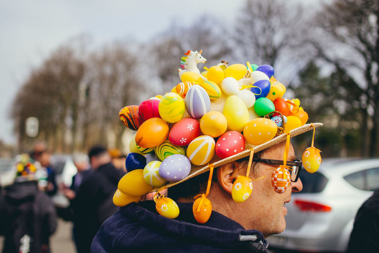 Easter Bonnet competition Close-up Easter Easter Bonnet Easter Eggs Easter Ready From My Point Of View Getting Creative Getting Inspired Large Group Of Objects Multi Colored People Photography People Watching Selective Focus Variation Up Close Street Photography