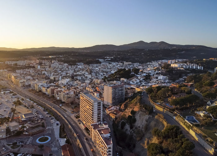 Aerial panoramic view of arenys de mar city at dawn. located in el maresme, barcelona, spain