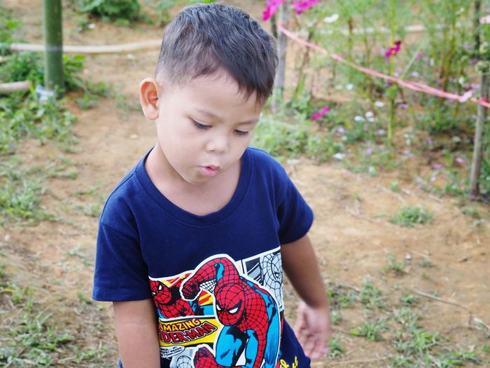 Portrait of cute asian boy Boy Asian  Portrait Child Childhood Concentration Looking Down Rural Scene Casual Clothing