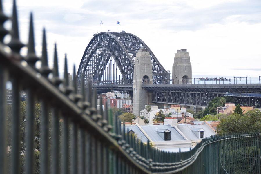 City Fenceline Observatory Hill Sky Sydney Brideg Sydney Harbour Bridge Sydney Opera House The Rocks