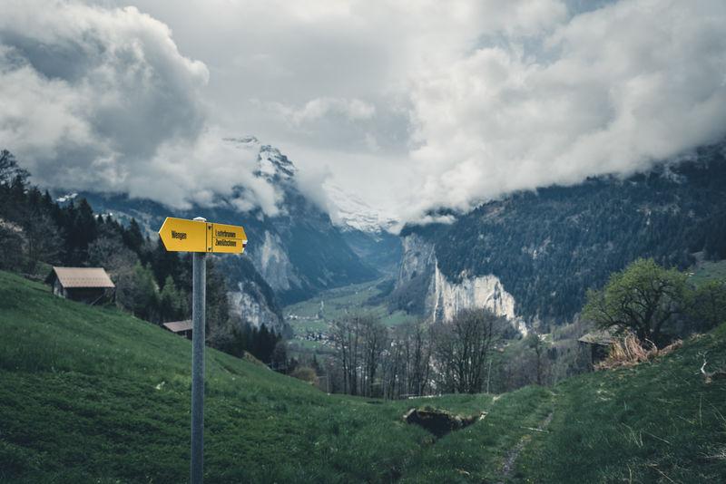 Wegweiser, Wanderweg Wengen Lauterbunnen Alps April Clouds Cloudsporn Dramatic Sky Hiking Landscape Lauterbrunnen Myswitzerland Schweiz Schweizer Alpen Sign Spring Switzerland Valley Wandern Wegweiser  Wengen Wolken