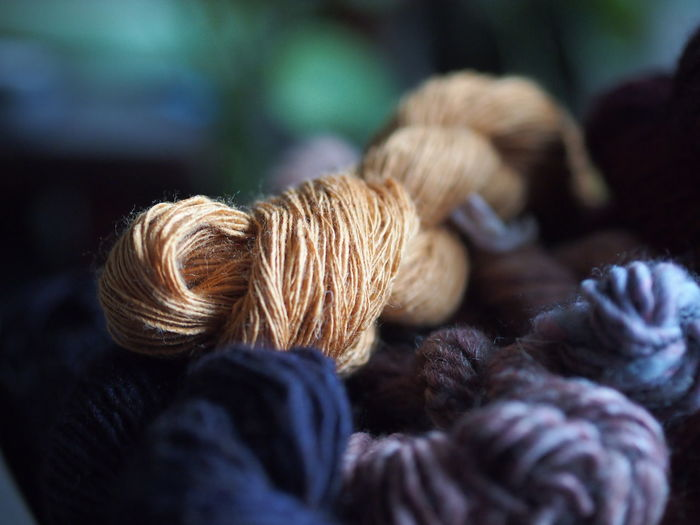Close-up of golden eri silk skein