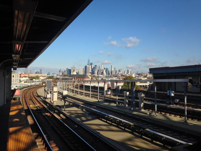 Brooklyn Downtown Brooklyn F Train New York New York City Architecture Building Exterior Built Structure City Day No People Outdoors Public Transportation Rail Transportation Railroad Track Sky Subway Train - Vehicle Transportation