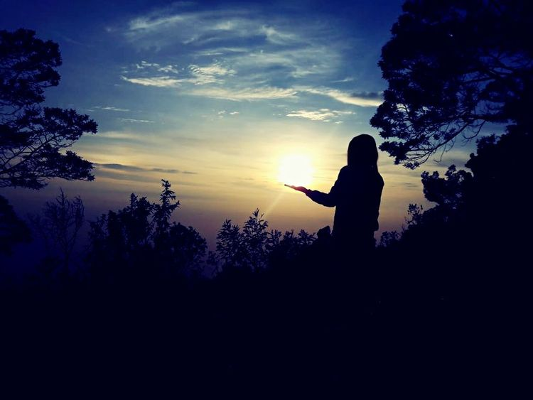 What we have is time Love Blue Sky ☁☁☁ Odette Sunrise Silhouette Sky Tree Plant Cloud - Sky Nature Scenics - Nature Real People Women Beauty In Nature Outdoors