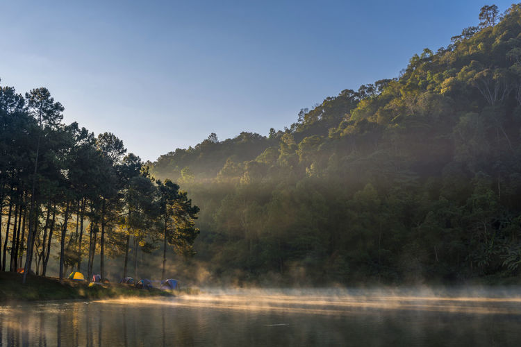 Morning light at Pang Ung lake, Pang Ung Mae Hong Son province, North of thailand ASIA Camping Cloud Light Morning Nature Pine Travel View Backgrounds Backpack Fog Forest Lake Landscape Mist Outdoors Park Relax River Scene Scenery Sun Beams Tent Water The Traveler - 2018 EyeEm Awards