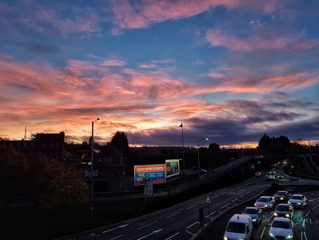 Sunset Outdoors No People Sky Cloud - Sky Night City Nostalgia Skylovers Skyporn Nature 🌆city🌃 EyeEm Best Shots Dramatic Sky Traffic Urban Skyline Chilling Nofilter Landscape Illuminated London Lifestyle Check This Out Land Vehicle