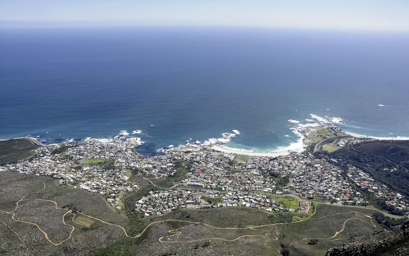 Panoramic View of Cape Town, South Africa and seacoast No People Cityscape Water Day Sea Nature City Urban Sprawl Africa Bird's Eye View Panorama High Angle View Human Settlement Metropolis Ocean Summer Natural Lighting Distant Seacoast Coastal Landscape Beauty In Nature Aerial View Horizon Over Water Scenics - Nature Beach