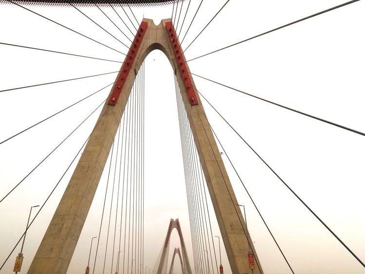 going to the airport... crossing the red river in Hanoi via the Nhat Tan bridge City Bridge - Man Made Structure Cable Sky Architecture Built Structure Steel Cable Suspension Bridge Cable-stayed Bridge Bridge International Landmark LINE Chain Bridge