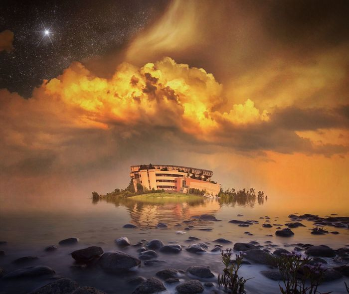Fantasy.... iPhone 7 Plus,BrainFeverMedia,Snapseed Sky Cloud - Sky Water Sunset Sea Orange Color Architecture Nature Beauty In Nature Scenics - Nature No People Reflection Digital Composite Dramatic Sky Land Rock