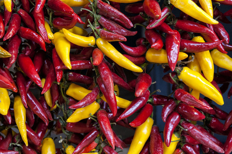 Full frame shot of yellow chili peppers