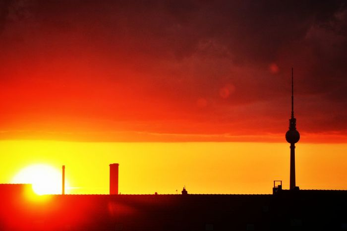 What a Sunset Silhouettes! Soistberlin  und der Fernsehturm with Clouds And Sky