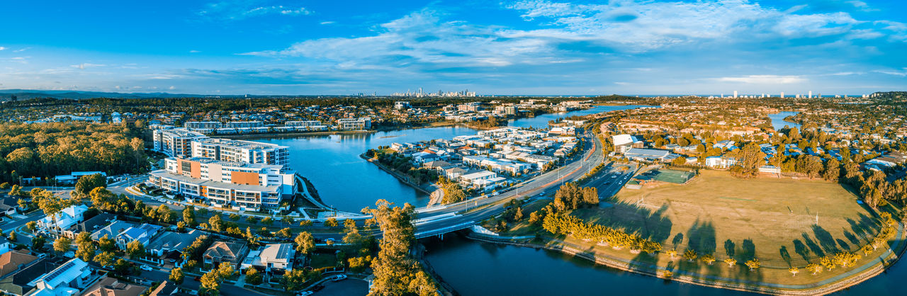 Australia Australian Landscape Landscape Australian Aerial View Aerial View Drone Photography Panorama Panoramic Architecture Building Exterior Urban Landscape Sunset Varsity Lakes Queensland Gold Coast Luxury Real Estate Built Structure Water City Sky Cloud - Sky High Angle View Nature Building Cityscape Transportation Nautical Vessel Outdoors Travel Destinations Travel Urban Skyline Blue