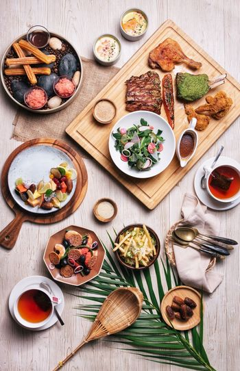 Full spread meal Food Food And Drink Table Freshness Healthy Eating Ready-to-eat Directly Above Wood - Material Plate No People High Angle View Fruit Berry Fruit Meal Wellbeing Kitchen Utensil Bowl Indoors  Eating Utensil Spoon