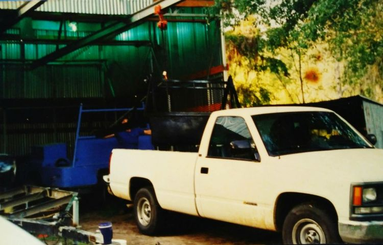 My Father's truck he was a welder and use to make the trailers that you see in blue. He was very good at what he did. outside, no people, Transportation Outdoors No People Day Water Sky