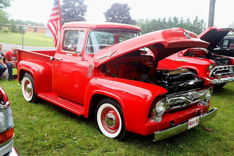 Vintage FORD Truck Red Color Ford Old Ford Truck Beautiful Car Show Snow Shoe, PA Red Mode Of Transportation Transportation Land Vehicle Motor Vehicle Car Grass Day Retro Styled Stationary Outdoors Pick-up Truck
