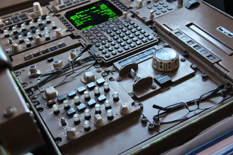 High angle view of sound mixer at recording studio