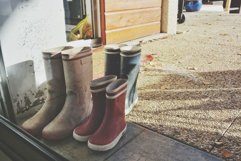 The little messy feet. 10, 6 and 4 year olds. Kids My Best Photo 2015 Shoes Boots Kids Shoes Happy Feet Outside Lifestyle Courtyard  By The Window Trio Three Children Stuff Home Is Where The Art Is Interior Style