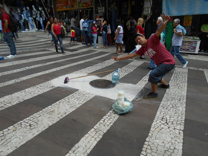 "Susan´s Series: Street Vendors in Downtown São Paulo (often referred to as a ""Micro-Empresa"", or Micro-Business) . ""The Street Soap Vendor"". This soap is strong enough to clean a dirty street or sidewalk according to the vendor Sr. Edinei Muniz dos Santos. Mr. Santos is very friendly and we had a nice chat. He explained he did not have the resources to know much about email technology and he would not be able to provide a permission authorization via email but, that I had his permission to publish his photo on EyeEm. He liked this photo which he saw after it was taken. In the event the photo ever gets licensed I will be splitting the proceeds with Mr. Santos. Mr. Santos is always at this spot near the 25 de Março commercial district in downtown São Paulo. Easy to re-locate. And if he is not there, I will ask around -- word of mouth will find him again. It is simple like that here. 25 De Março City Life Small Business Heroes Street Vendor Susan A. Case Sabir The Street Soap Vendor Unretouched Photography City Day Downtown São Paulo Micro-business Microempresa Outdoors Real People Sabão Selling On The Street Street Street Photography Urban Photography"