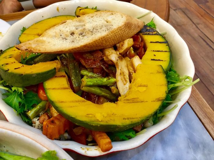 Pumpkin salad Food And Drink Food Vegetable Freshness Healthy Eating Ready-to-eat High Angle View Serving Size Indoors  Close-up No People Wellbeing Plate Indulgence Still Life Potato Prepared Potato Table Bowl Meat