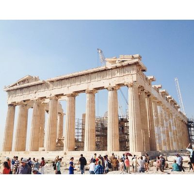 I'm in Greece! The Parthenon featuring cranes. Athens Greece Applegoestoeurope Travel