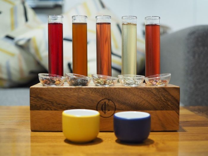 Tea sampler Freshness Colorful Tea Indoors  Table No People Jar Close-up Test Tube Science Test Tube Rack