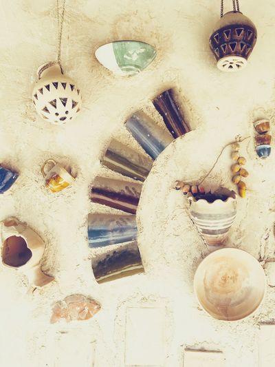 Traditional Craft Art Broken Pottery Decoration Pottery Heritage Village Uae,abudhabi UAE Abu Dhabi Craftman's House Detail EyeEm Selects No People Indoors  Day Close-up Architecture