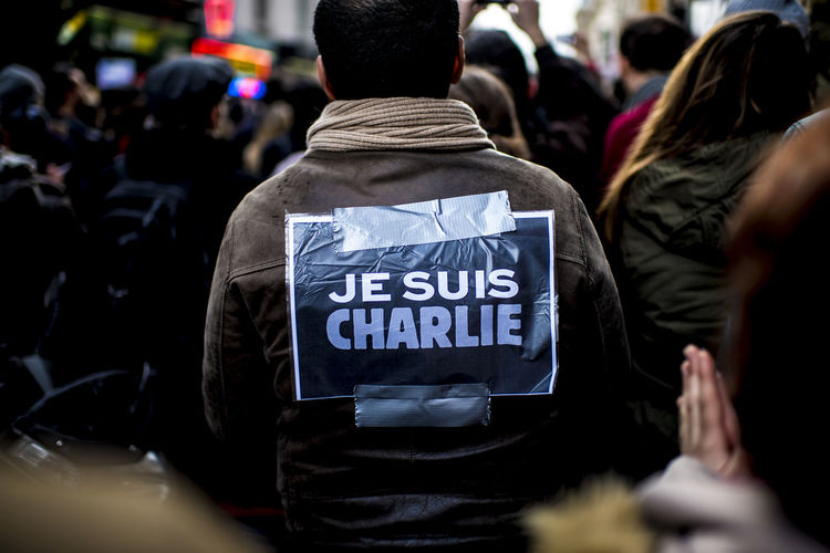 Jesuischarlie Paris Attack Day Manifestation Men People Politics And Government Sad