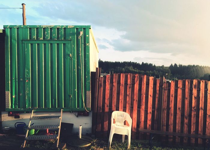 Outdoors No People Day Architecture Container Plastic Chair Trailerpark Westerwald Iphones