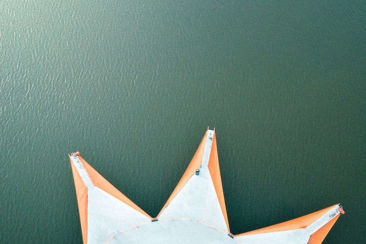 Aerial view of built structure in lake