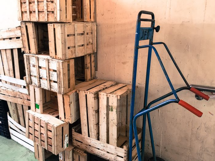 Wooden Crates On Cart