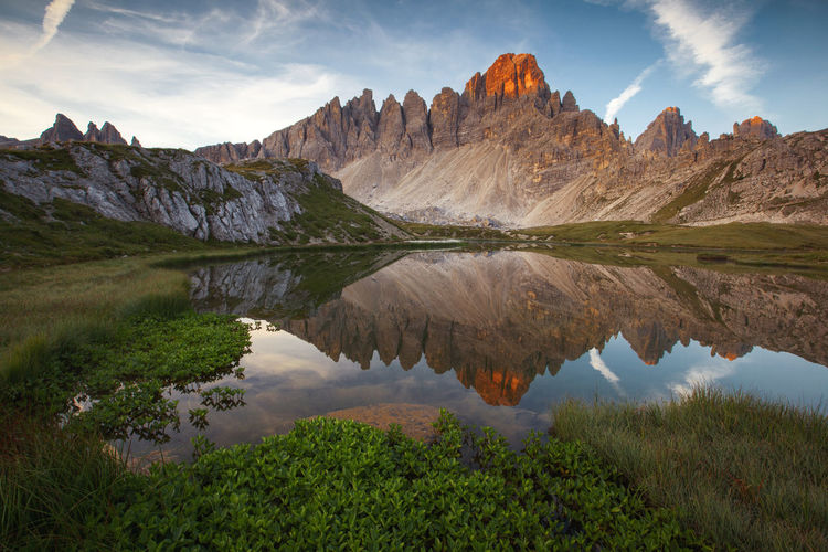 Incredible landscapes from Dolomite Mountains, Italy. Atmosphere Beautiful Dolomites Nature Panorama Reflection Rocky Alps Clouds Dolomiti Europe Italy Lake Landscape Mountain Mountain Peak Outdoors Photography Red Light Sunrise Sunset Tranquility Travel Destinations Water