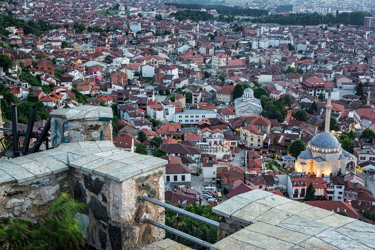 Looking down from the ramparts of Prizren Fortress in Prizren, Kosovo Prizren Kosovo Architecture Travel Travel Destinations Tourism Eastern Europe Balkan Balkans Historic Medieval Cityscape Urban Mosque Sinan Pasha Sinan Pasha Mosque Dusk Evening Dusk In The City Minaret Building Exterior