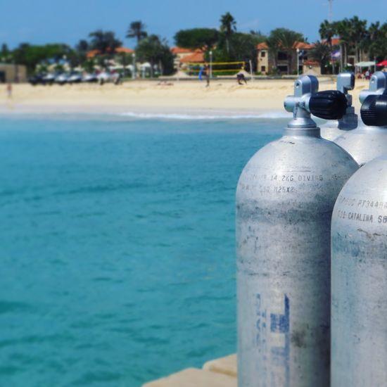 Scuba Diving Equipment against Beach Cape Verde Cabo Verde SCUBA Gas Cylinder Air Diving Equipment Diving Holiday Vacation Summer Beachphotography Santa Maria