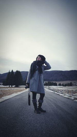 On the road Snow Italy🇮🇹 Warm Clothing Young Women Full Length Road Women Clear Sky Cold Temperature Standing Sky Casual Clothing Scarf Arid Landscape Winter Coat Cold Thoughtful Coat Snow Covered