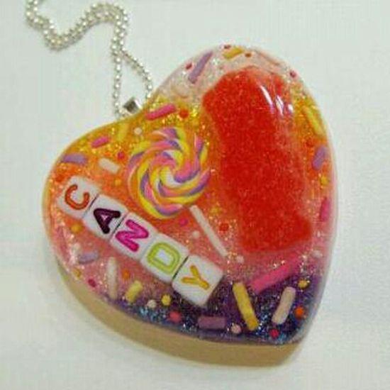 Candy Sweets Heart Pendant Etsy Resin 2littlekisses