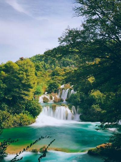 Shot On IPhone Krka National Park Croatia Waterfall Tree Water Plant Beauty In Nature Scenics - Nature Nature Waterfall Flowing Water Long Exposure No People Tranquil Scene Green Color Outdoors Forest Sky Tranquility Motion