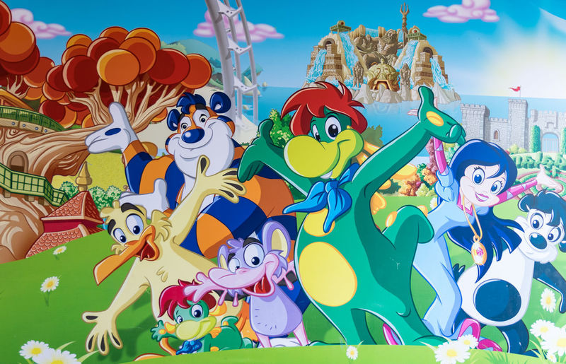 Castelnuovo del Garda, Italy - September 8, 2015: Mural painting at the entrance of the fantasy kingdom of Gardaland, the largest amusement park in Italy. Tigger Art Background Child Colorful Decoration Design Drawing Entrance Fairy Tales Fantasy Fantasy Kingdom Gardaland Graphic Illustration Image Madhouse Magic Tree Mural Painted Parsley Prezzemolo Symbol Welcome